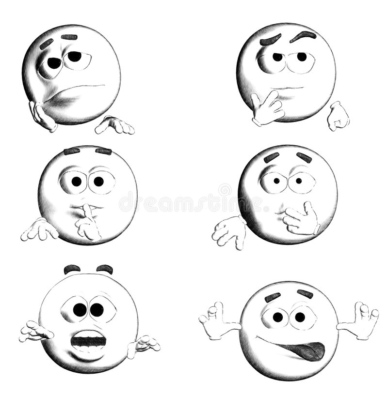 FACE - B&W Six Smiles II/III. 6 B&W smiles for you! various emotions vector illustration