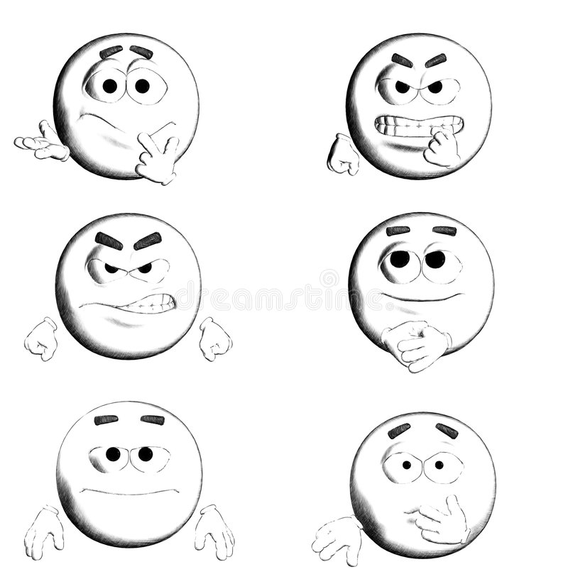 FACE - B&W Six Smiles III/III. 6 B&W smiles for you! various emotions vector illustration