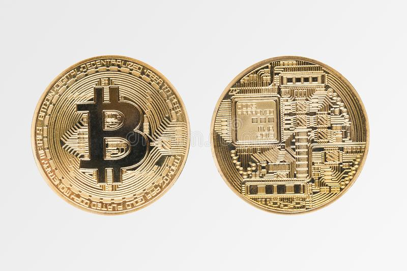 Face and back of bitcoin, cryptocurrency and virtual money royalty free stock image