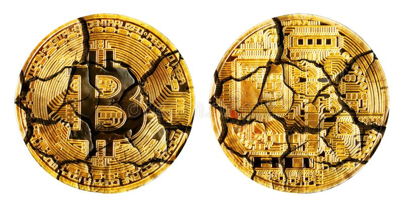 Face and back of fractured bitcoins stock images