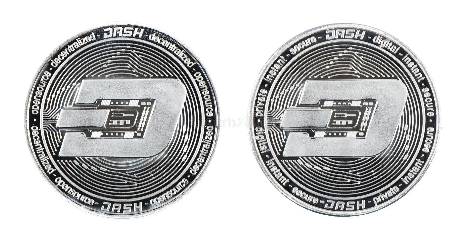 Face and back side of the crypto currency silver dash isolated on white background royalty free stock image