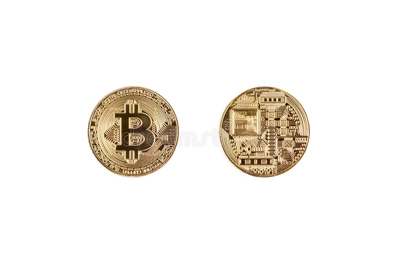Face and back side of cryptocurrency coin bitcoin isolated on white background stock photography
