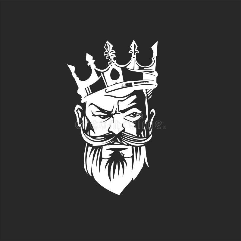 Bearded Skull King With Crown Vector Design Stock Vector