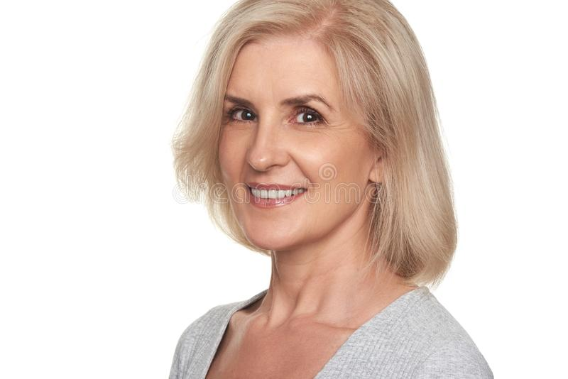 Face of a beautidul middle aged woman royalty free stock image