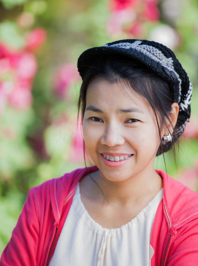 Face of beautiful asian woman stock images