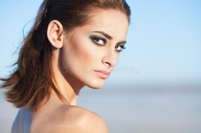 Face of a beautiful brunette woman royalty free stock images