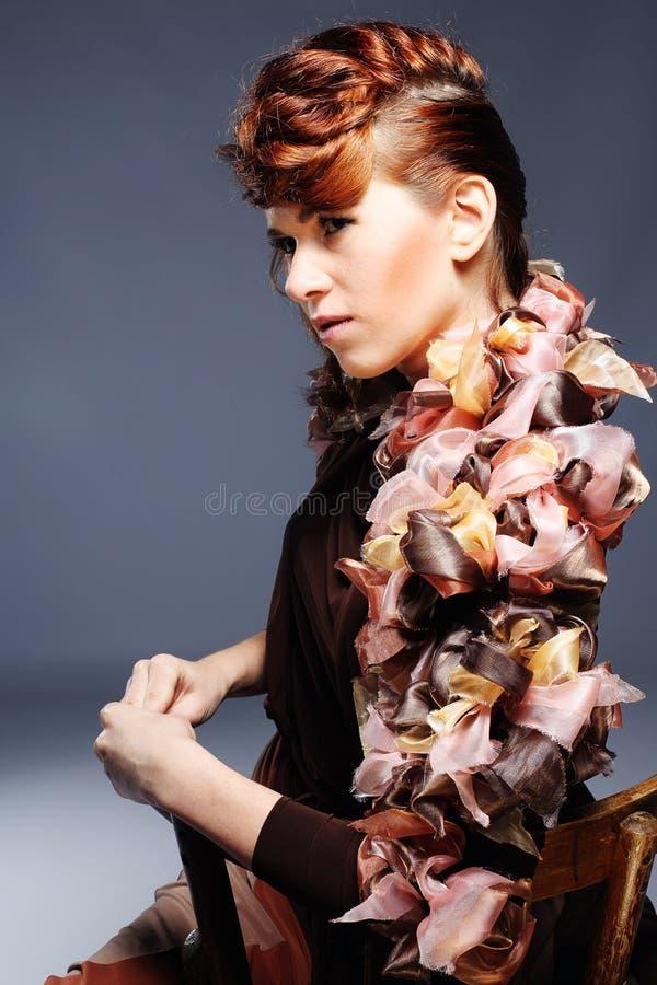 Face of beautiful caucasian brunet woman stock image