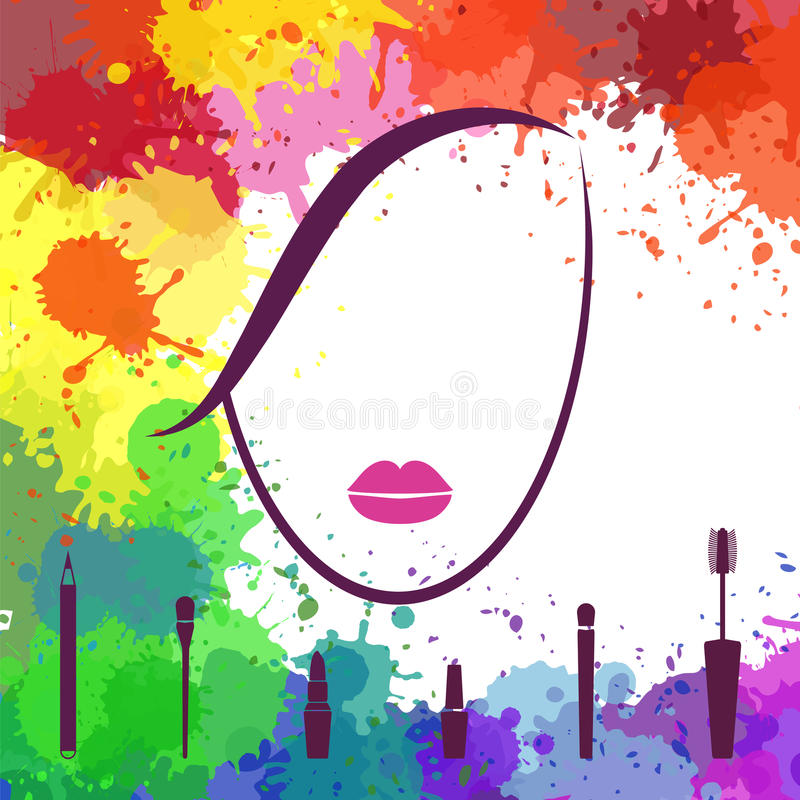 Face of beautiful girl. Makeup artist. Fashion icon. Logo template. Woman face. Make up elements vector illustration