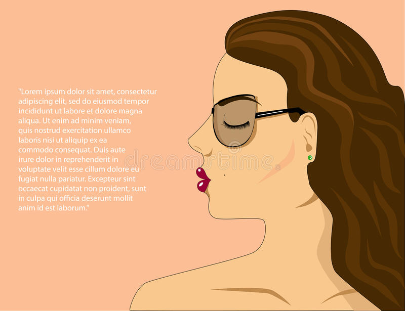 Face Of A Beautiful Girl Side View Stock Vector