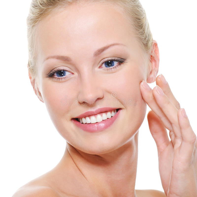 Face of beautiful health smiling woman stock photography