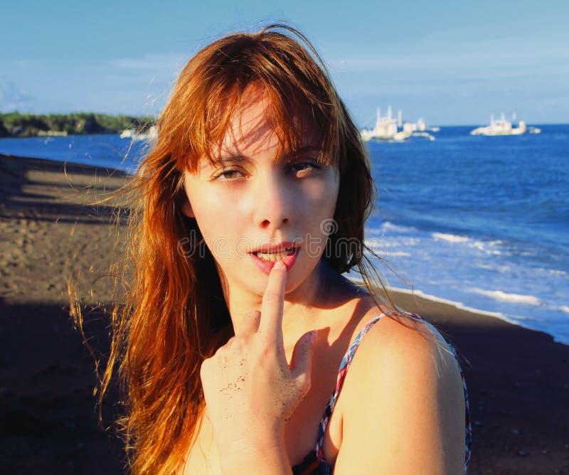 Beautiful Woman Face Over Beach Sunset Stock Image: Face Of The Beautiful Girl On A Beach Stock Photo