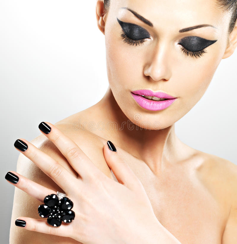 Download Face Of The Beautiful Woman With Black Nails And Pink Lips Stock Image - Image: 29827039