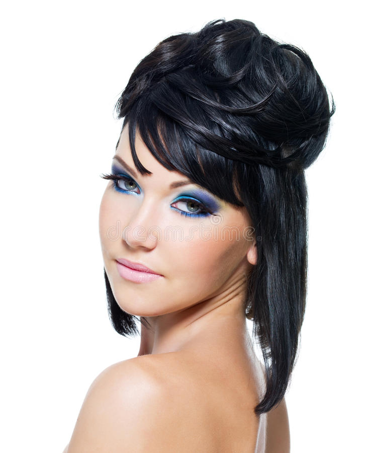 Download Face Of A Beautiful Woman With Blue Make-up Stock Image - Image: 15406375