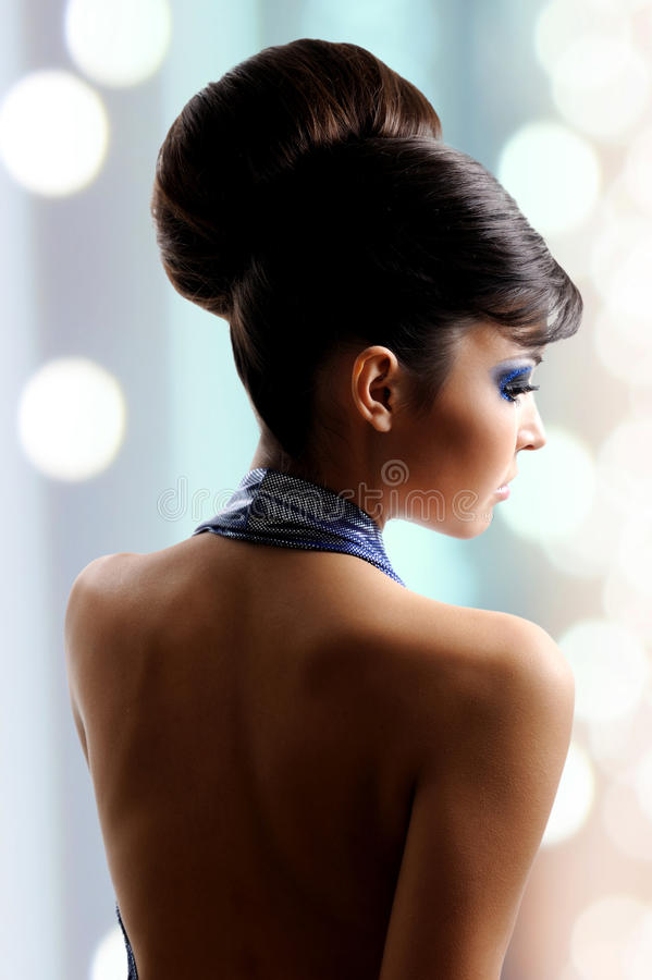 Download Face Of Beautiful Woman With Fashion Hairstyle And Glamour Makeu Stock Photo - Image of brown, caucasian: 33262594
