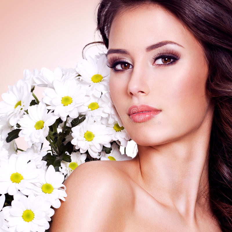 Download Face Of Beautiful Woman With A  Flower Stock Image - Image: 36603247