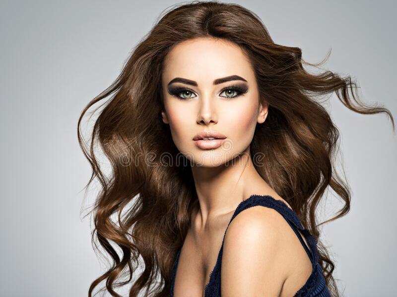 Face of a beautiful  woman with long brown  hair royalty free stock images