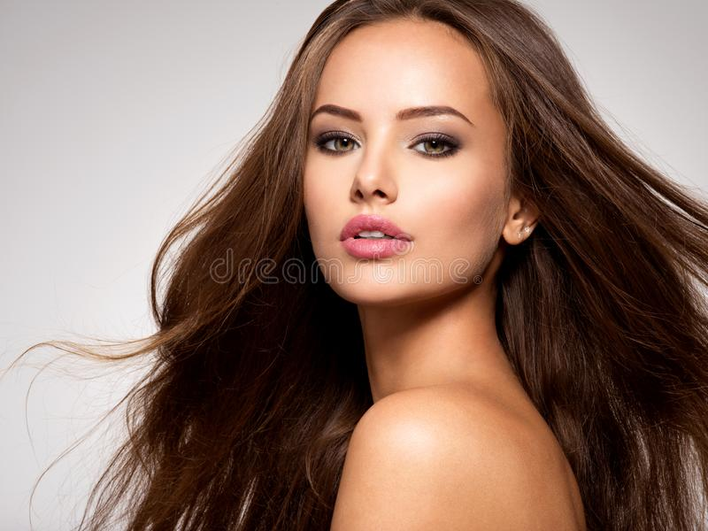 Beautiful woman with long brown hair royalty free stock photography