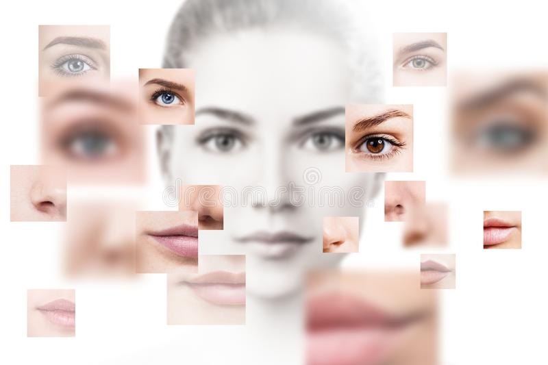 Face of beautiful woman pictured of different parts. stock photo