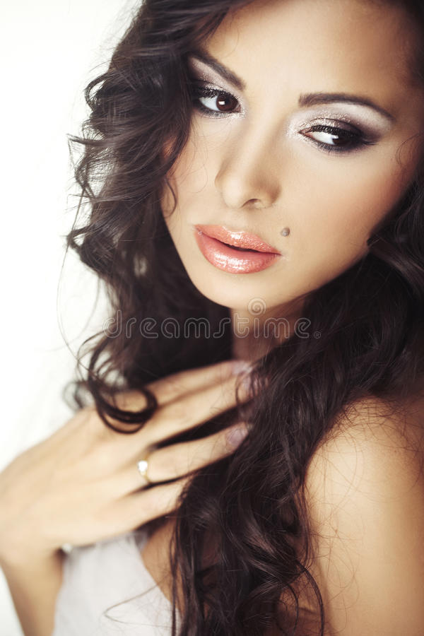 Face of beautiful young bride with happy smile stock photo