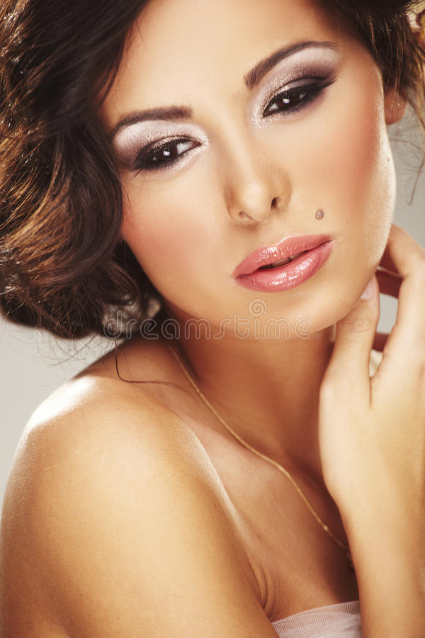 Face Of Beautiful Young Bride With Happy Smile Stock Images