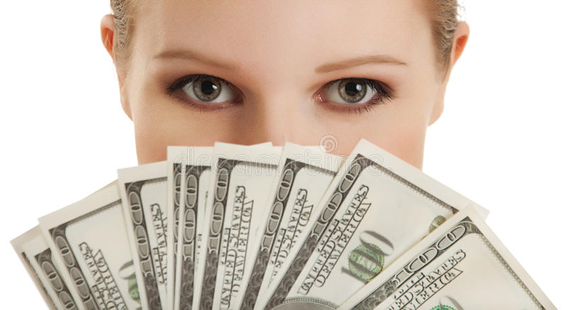 Face of beautiful young woman and the money- doll. Ars royalty free stock photos