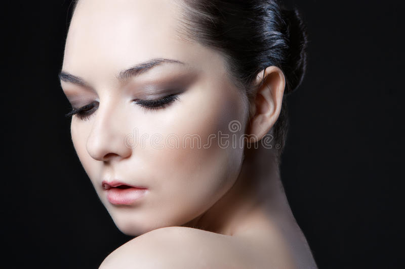 Face of beautyl woman with make-up stock images