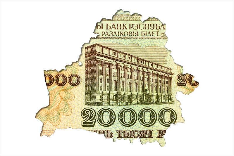face biélorusse de billet de banque du rouble 20000 dans la forme de la Biélorussie illustration de vecteur