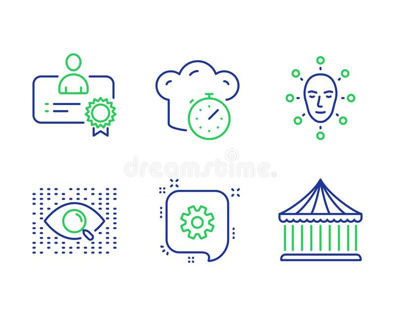 Face biometrics, Cogwheel and Cooking timer icons set. Vector. Face biometrics, Cogwheel and Cooking timer line icons set. Certificate, Artificial intelligence stock illustration