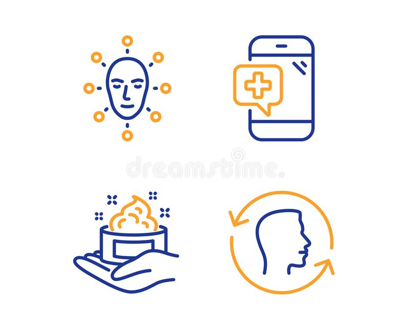 Face biometrics, Skin care and Medical phone icons set. Face id sign. Vector. Face biometrics, Skin care and Medical phone icons simple set. Face id sign. Facial royalty free illustration
