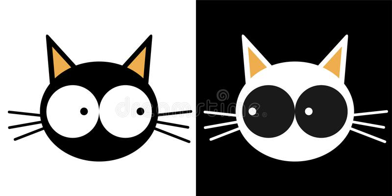 Face of a black cat and face of a white cat. Set stock illustration
