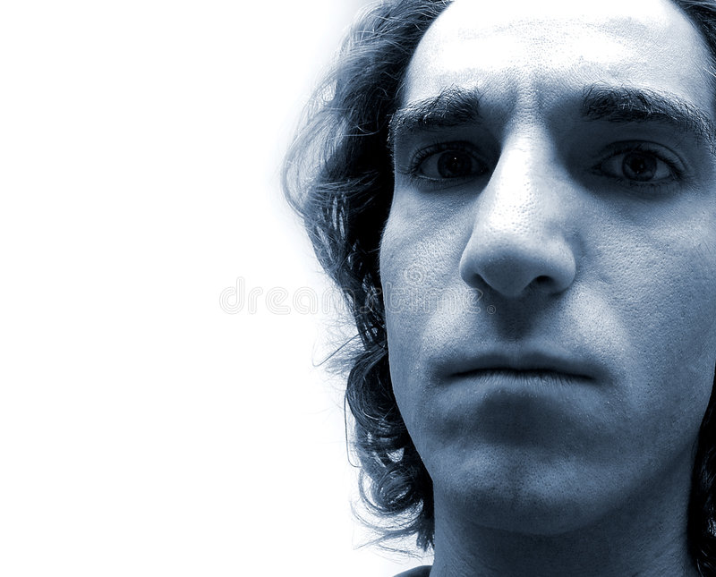 Face in blue-2 stock images