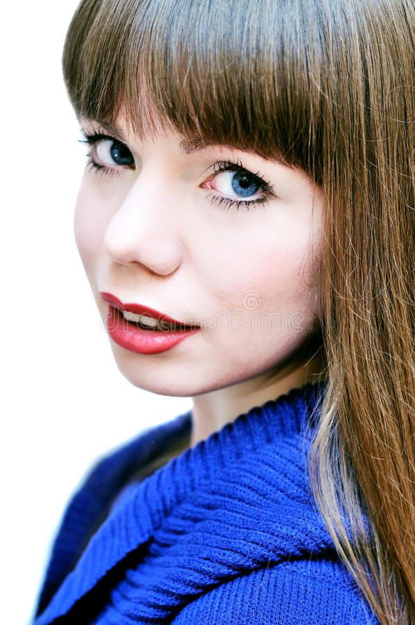 Face of blue-eyed girl royalty free stock photo
