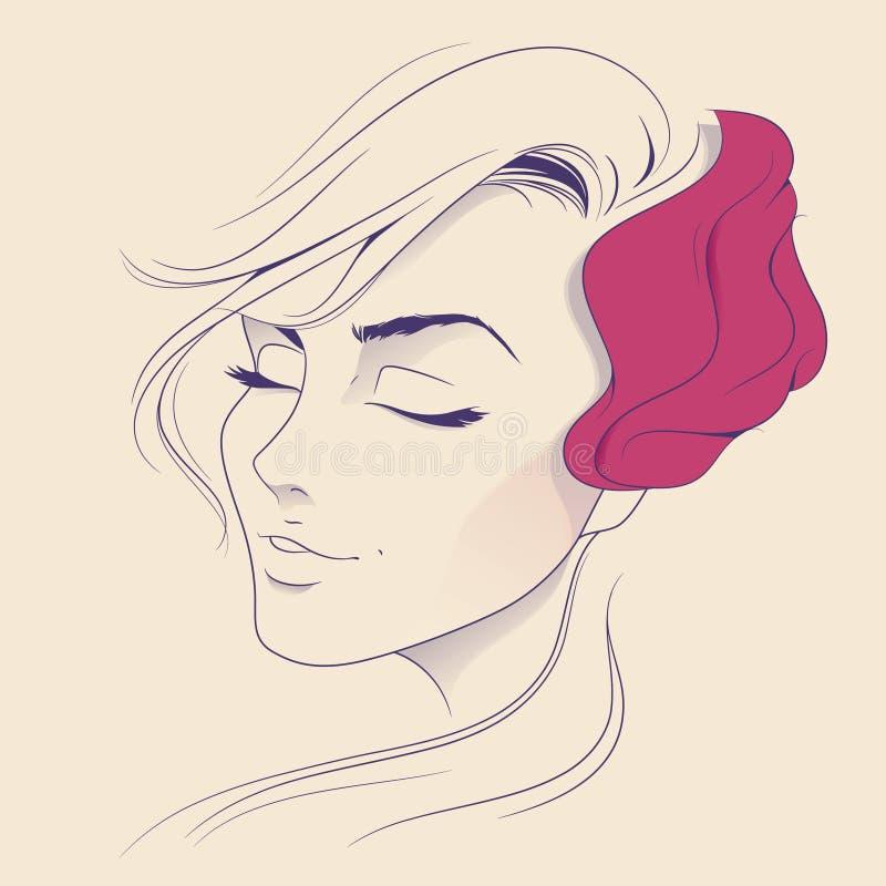 Face bonita da mulher ilustração do vetor