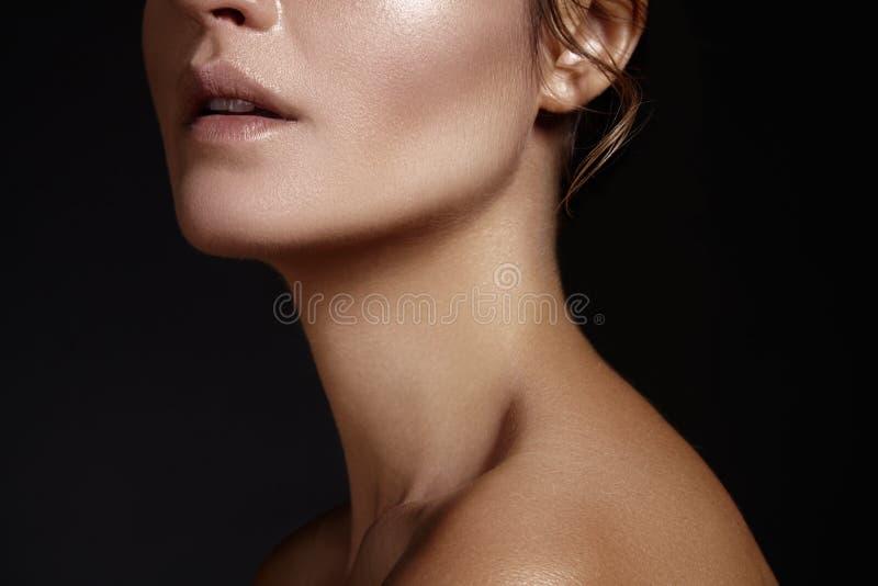 Face bonita da mulher nova Skincare, bem-estar, termas Limpe a pele macia, olhar fresco saudável Composição diária natural