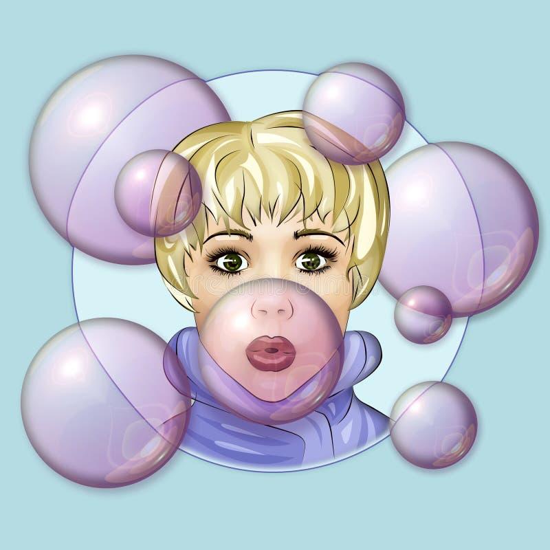 Face bonito do Pucker ilustração royalty free