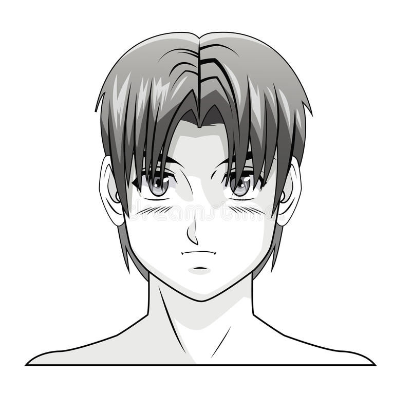 Face boy anime manga comic hair style. Vector illustration eps 10 stock illustration