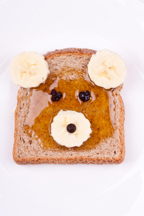 Face on bread for breakfast royalty free stock photo