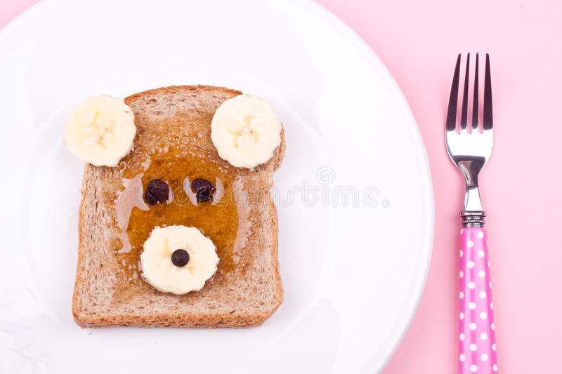 Face on bread for breakfast royalty free stock photos