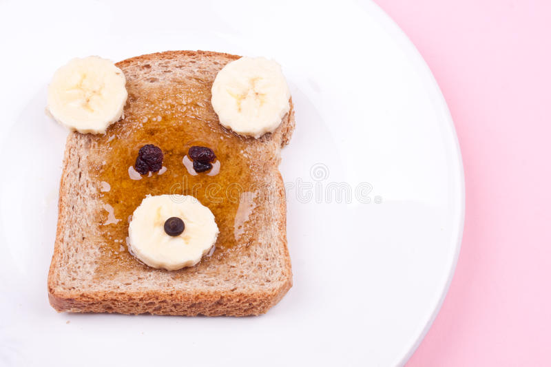 Face on bread for breakfast royalty free stock images