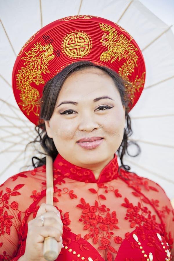 Face Of Bride Wearing Vietnamese Ao Dai Stock Image - Image of ...