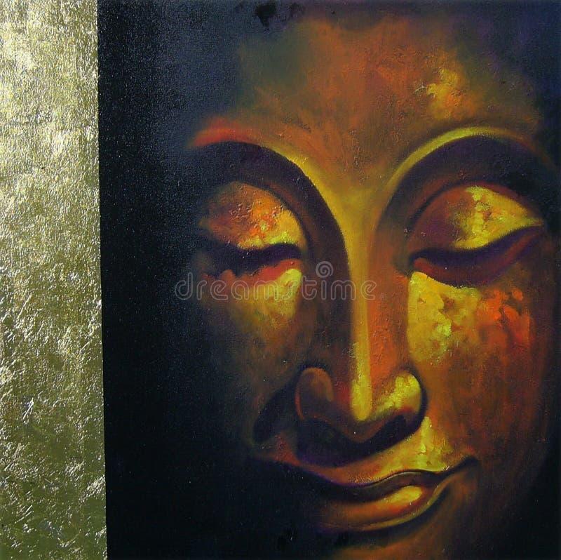 Face of buddha illustration painting meditation royalty free stock image