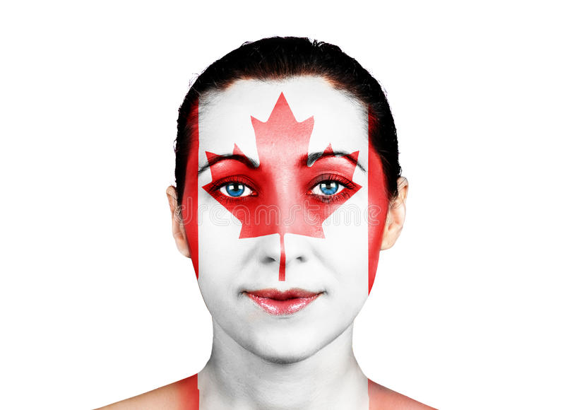 Face with the Canadian flag royalty free stock photos