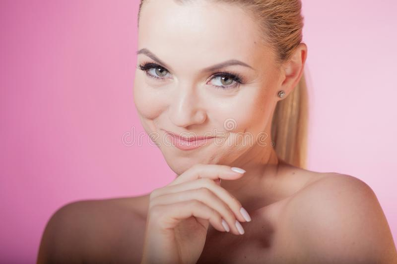 Face care and skin care, health and beauty concept, copy space right. stock images