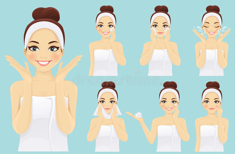 Face care woman set. Woman with smiling face care set illustrations