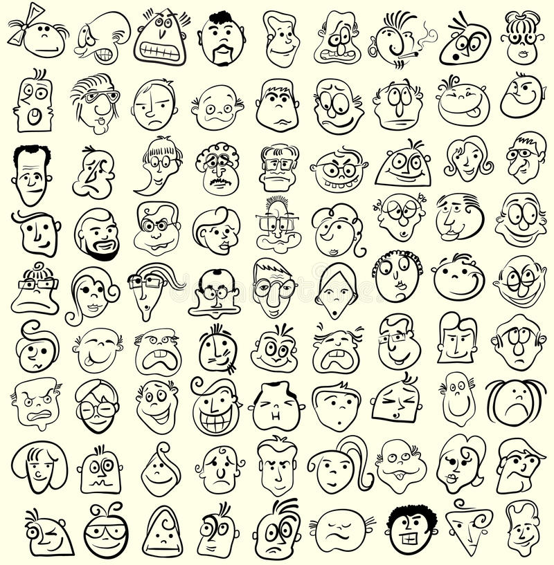 Face Caricature  Cartoon Collection. Stock Photos