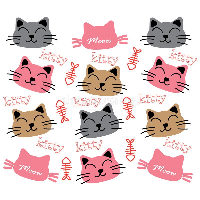 Cat wallpaper background. Face cartoon Cat wallpaper background royalty free illustration
