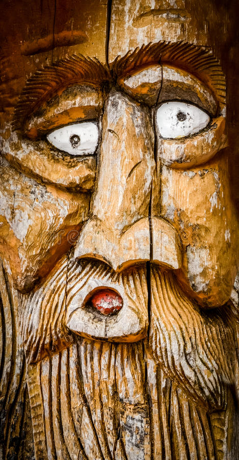 Face Carved Into Wood Stock Photo Image Of Cultural