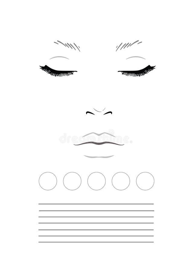 Face chart Makeup Artist Blank. Template. Illustration royalty free illustration