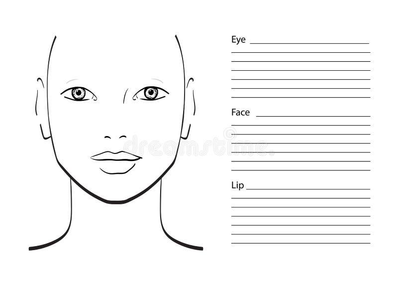 Face Chart Makeup Artist Blank. Stock Illustration