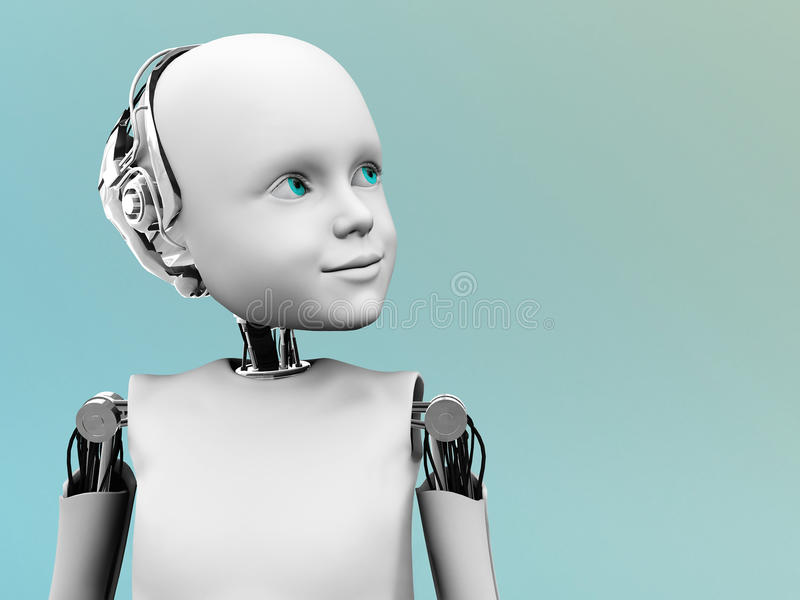 The face of a child robot. stock illustration